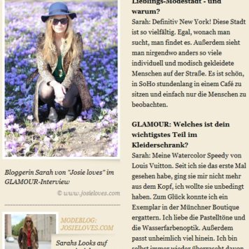 Interview Josie loves auf GLAMOUR.de