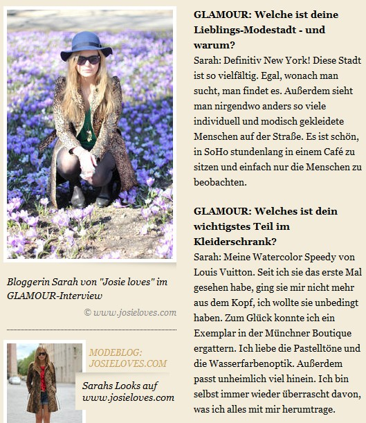Interview Josie loves auf GLAMOUR.de