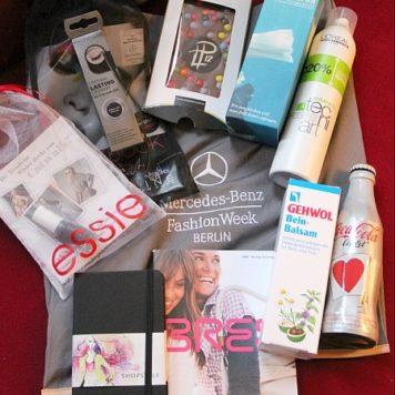 Der Inhalt der Mercedes-Benz Fashion Week Goodie Bag im Januar 2012