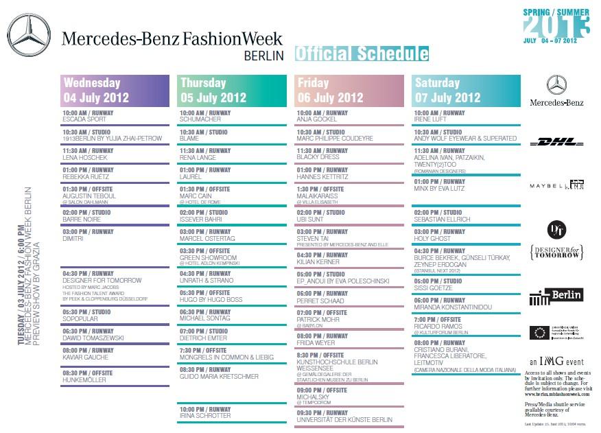 Mercedes-Benz Fashion Week Berlin: Der finale Schauenplan