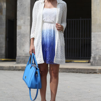 Weiß trifft auf Blau: Mein Outfit des zweiten Fashion Week Tages