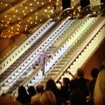 Marc Jacobs runs up the escalator