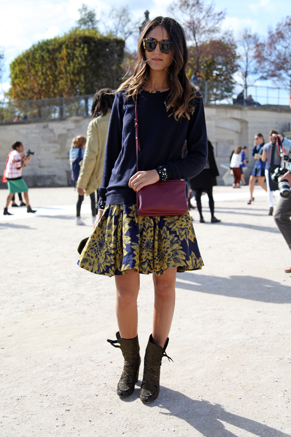 Chunky knit meets printed skirts