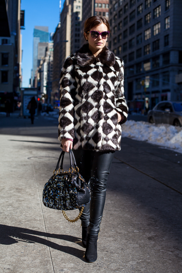 Fake fur coat and leather pants