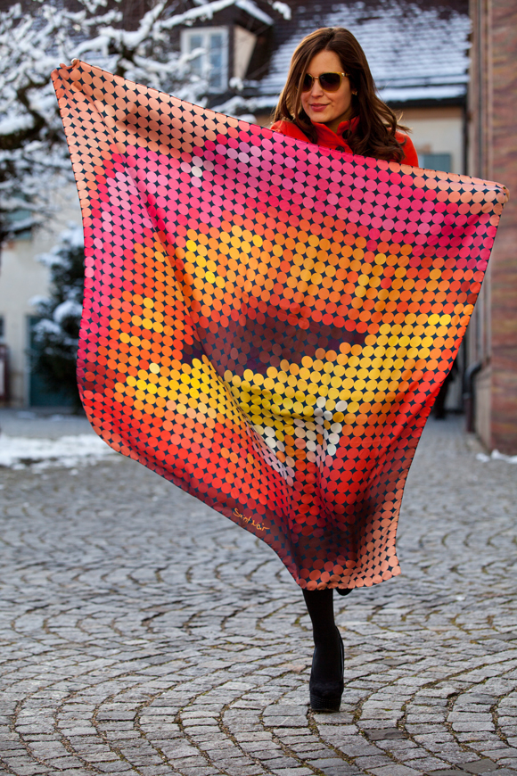 "Saint Noir ""Kiss"" Silk Scarf"