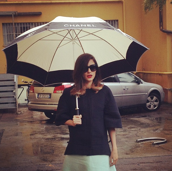 The perfect accessory on a rainy fashion week morning