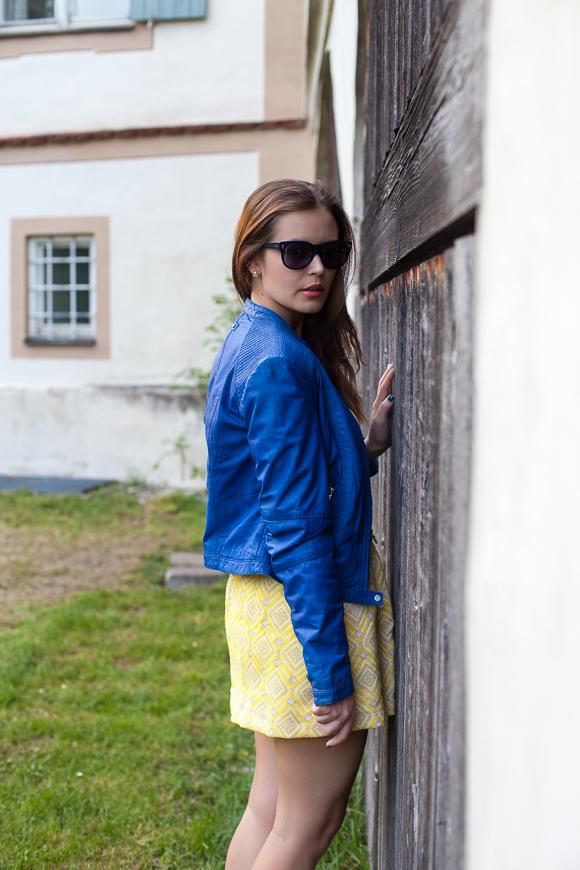 Blue Leather Jacket by Milestone