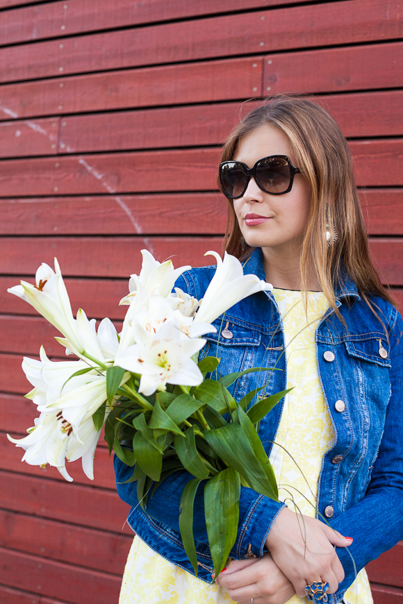 25 Kleidungsstücke – 50 Looks: Outfit 28 – Coast Kleid + Warehouse Jeansjacke
