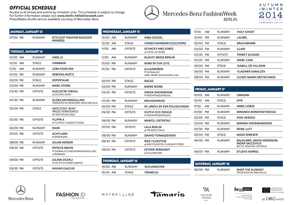 Mercedes-Benz Fashion Week Berlin Januar 2014 Schauenplan