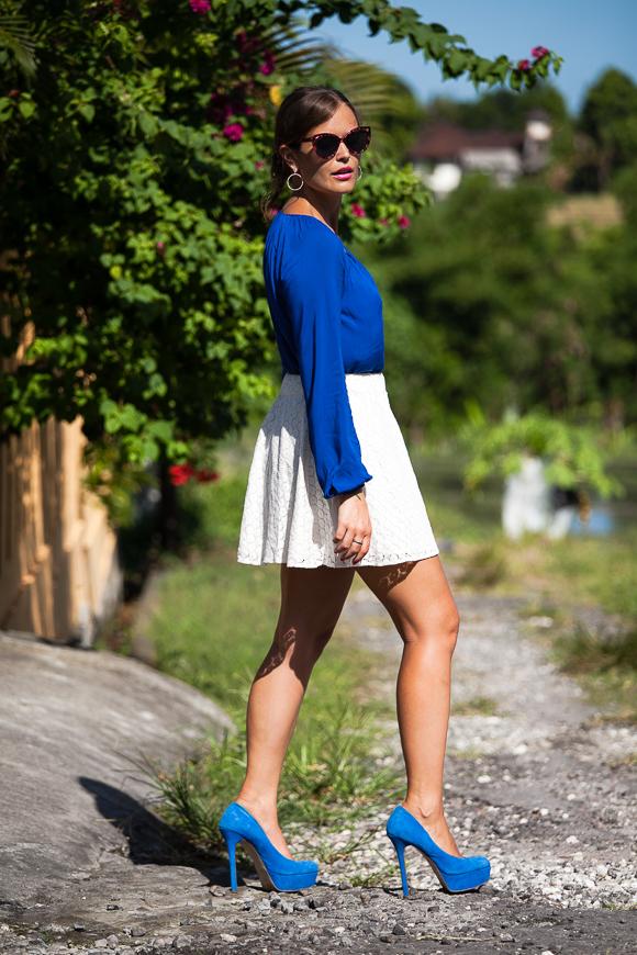 Hallhuber Bluse Blau Seide