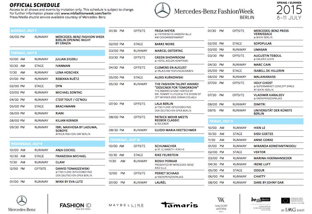 Mercedes-Benz Fashion Week Berlin Schauenplan Juli 2014