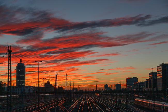 Hackerbrücke München Sonnenuntergang