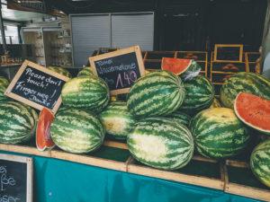 Wassermelonen auf dem Viktualienmarkt in München