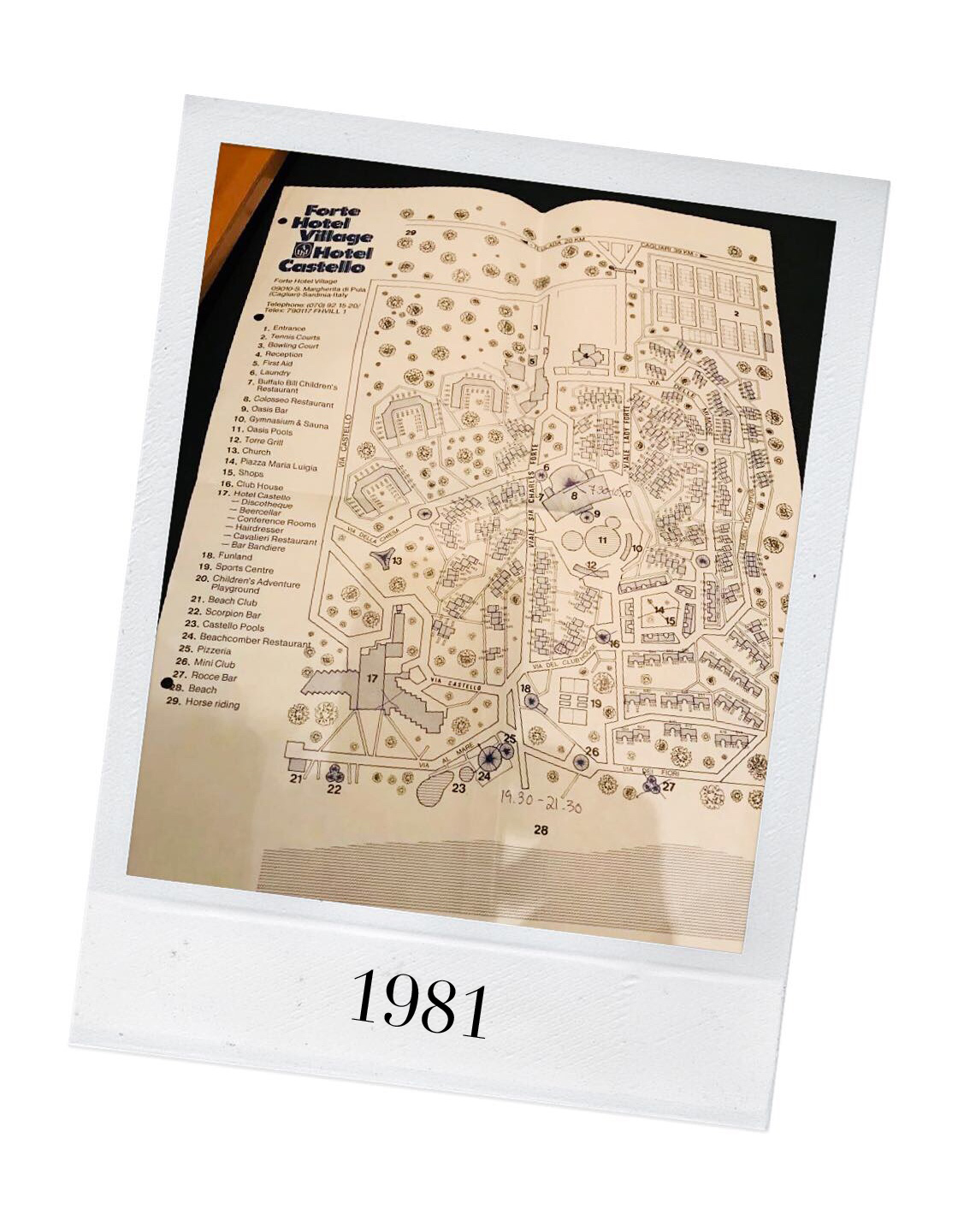 Forte Village Resort map 1981